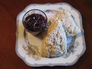 Cream Scones with pearl sugar on top.